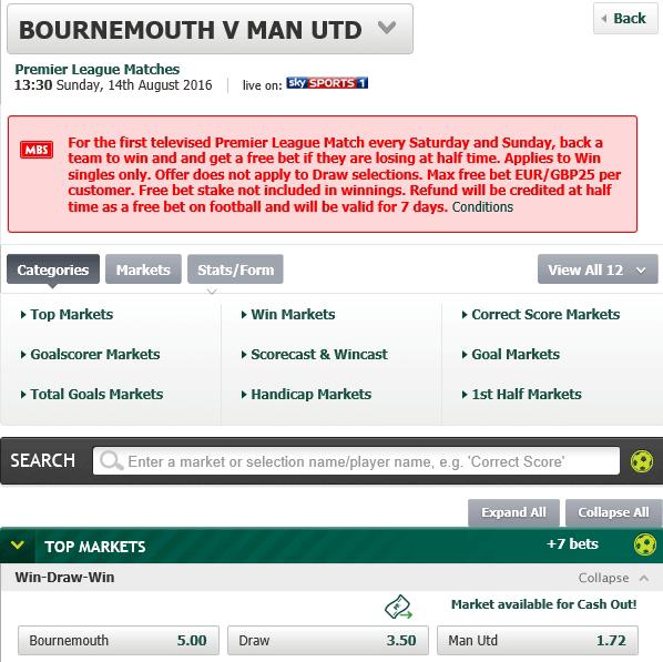 multiple bet, bournemouth vs man utd