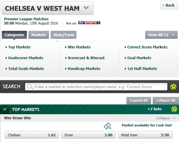 multiple bet, chelsea vs west ham