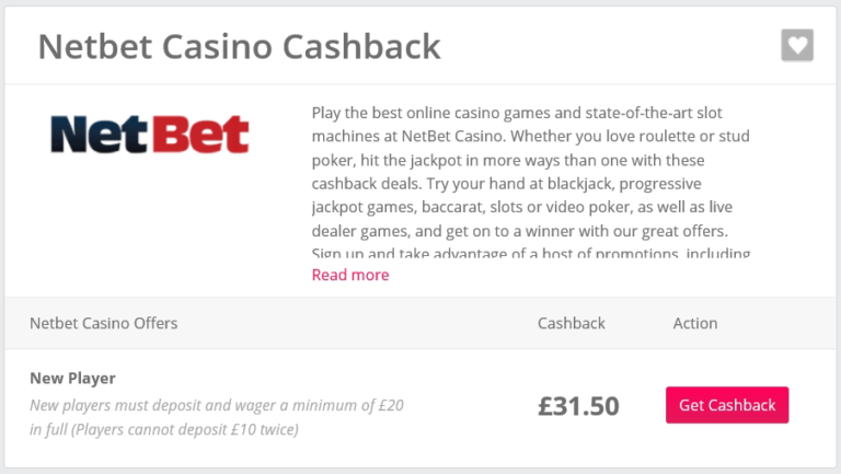 Casino Bonus Cashback Sites TopCashback Casino Netbet