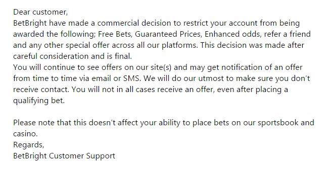 gubbed, bet bright account restriction email notice