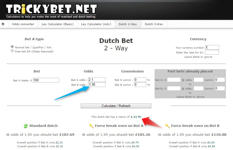 Dutching 2way Tricky Bet Calculator