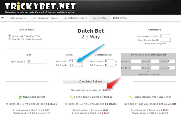 Dutching 2 Way Calculator