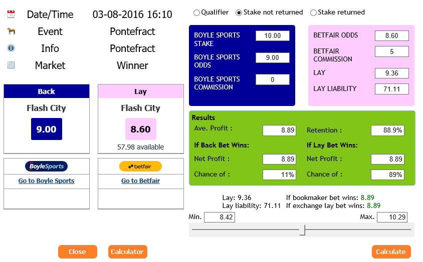 risk free bet offers, oddsmatcher calculation screen