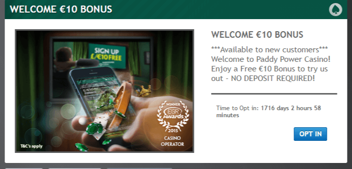 Paddy power Casino Welcome Offer