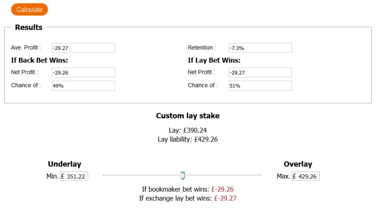 Matched Betting Underlaying Calculation