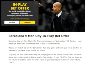 Bet365 Football Inplay Risk Free Bet Offer T&C