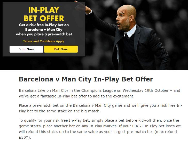 Bet365 Football Inplay Risk Free Bet Offer T&C