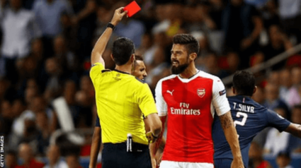Arsenal Giroud Red Card