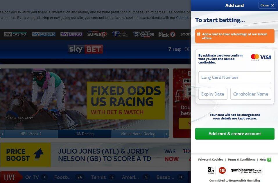 Sky Bet Offers Registration Deposit Screen