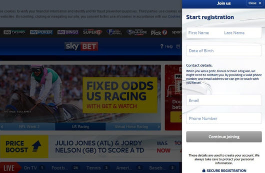 Sky Bet Offers Registration First Screen