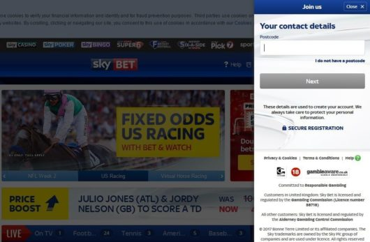 Sky Bet Offers Registration Second Screen