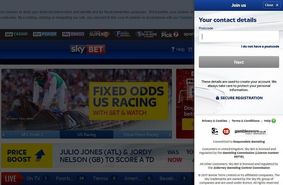 Sky Bet Offers Registration Second Screen