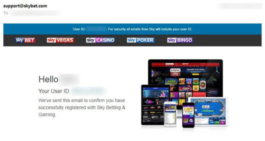 Sky Bet Offers Successful Registration Email