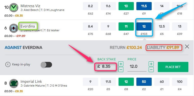 Sky Bet SMarkets Lay Placement