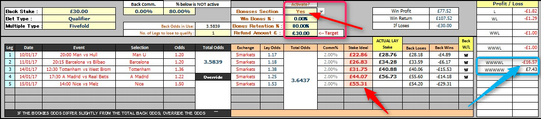 William Hill ACCA Insurance Lock-In Profit Calculation Table