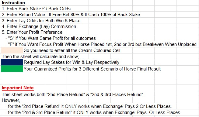 2nd Place Refund Horse Betting Calculator Instruction