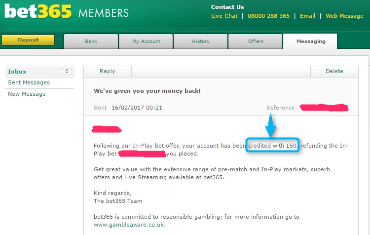 Bet365 In-Play Offer Guaranteed Profit Refund Letter