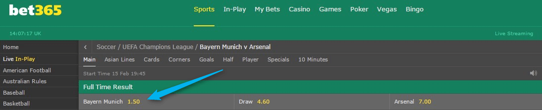 Bet365 in game betting lines bettinger karlsruhe arzt