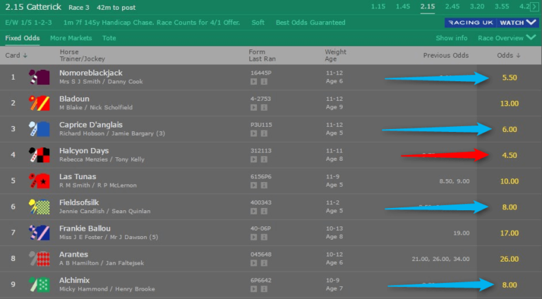 Bet365 Feature Race Odds