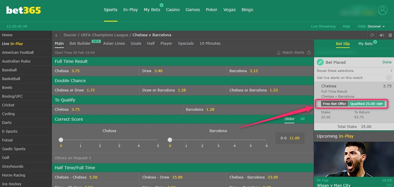 bet365 in play offer, back bet place