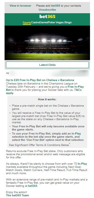 bet365 in play offer, email