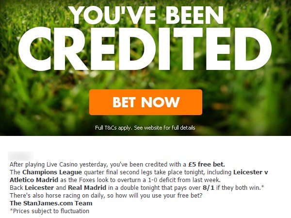 Betting Promotions StanJames Free Bet Credited Mail