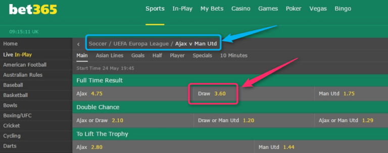 Bet365 Sign Up Offer - How To Guarantee £/€150+ Net Profit Europe League Final Odds