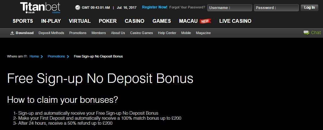 Profitable Casino Sign Up Methods Titan Bet No Deposit Bonus