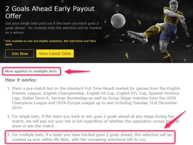 bet365 2 goals ahead early payout offer applies to accumulator