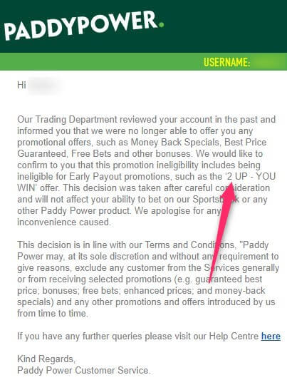 paddy power 2 up, restriction email
