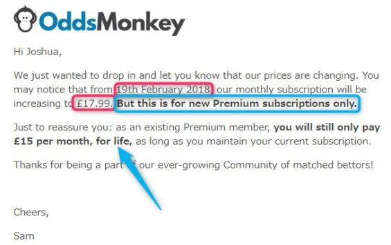 oddsmonkey review, price increase email