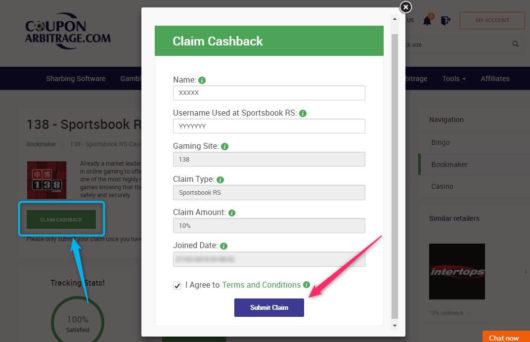 betting cashback, coupon arbitrage claim form