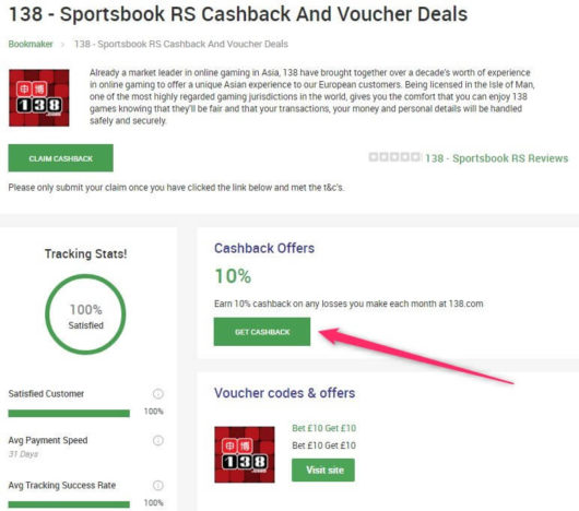 betting cashback, coupon arbitrage get cashback button