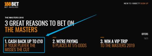 betting golf majors, 188bet offer