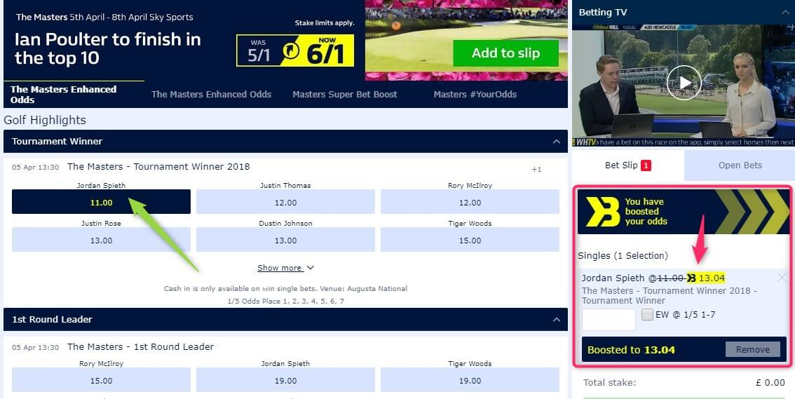 betting golf majors, william hill boosted betslip