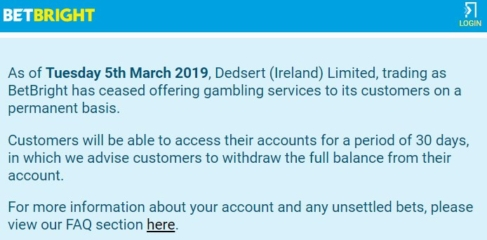 BetBright Ceased Business