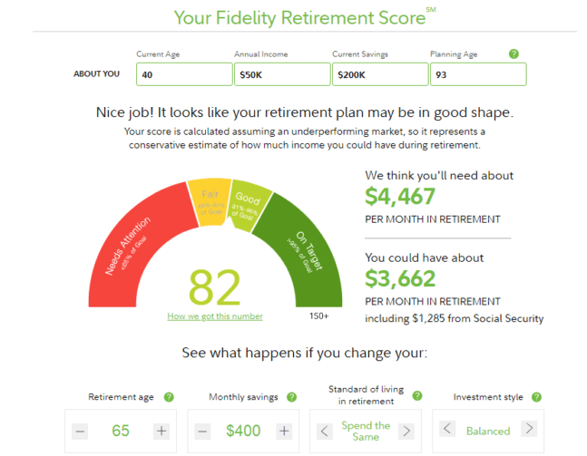 Fidelity Retirement Score Calculator