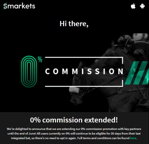smarkets 0 commission extended to June 2019