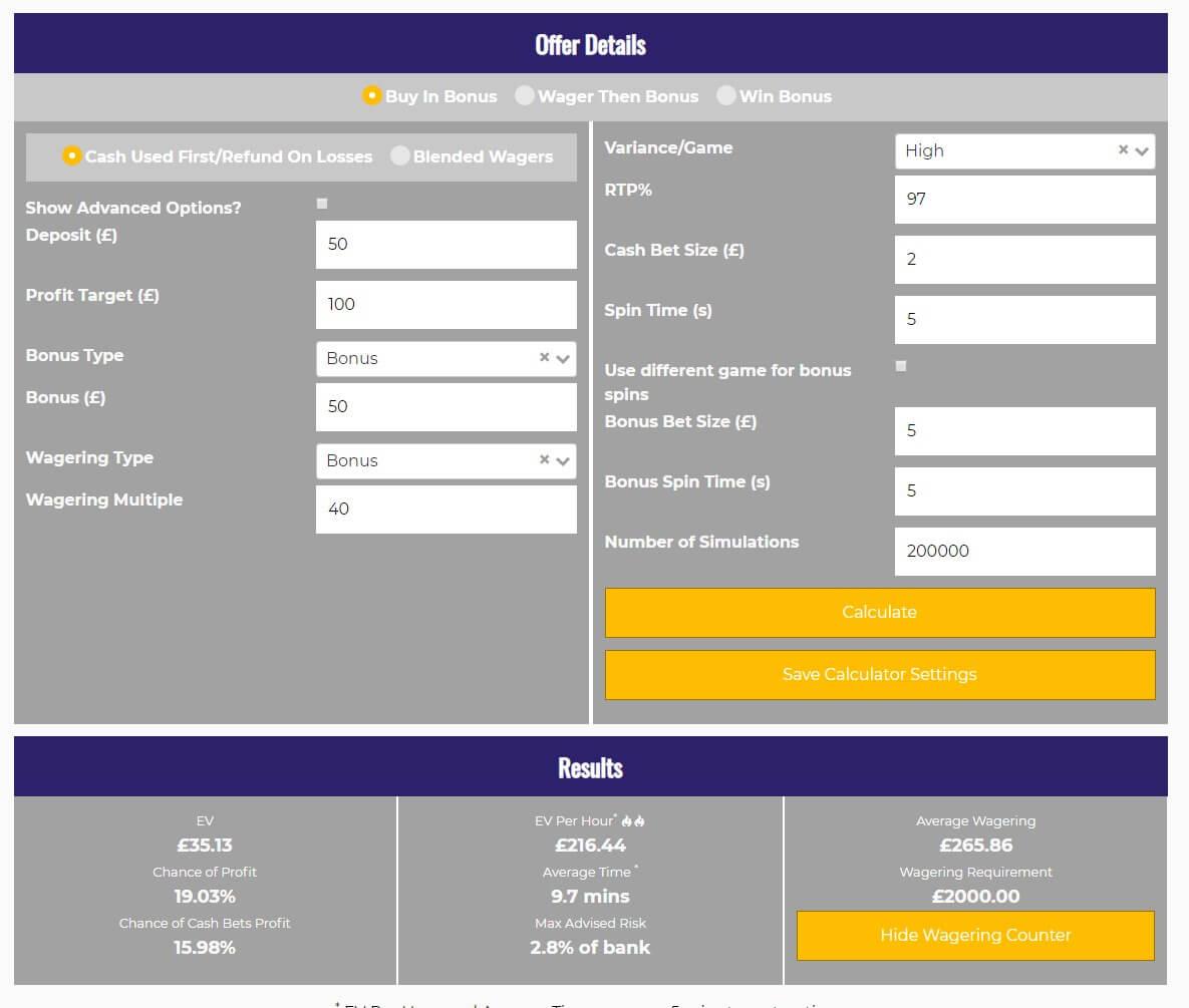 casino calculator Casino Heroes simulation results