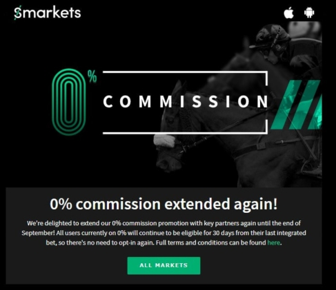 smarkets 0 commission extended to End Sept 2019