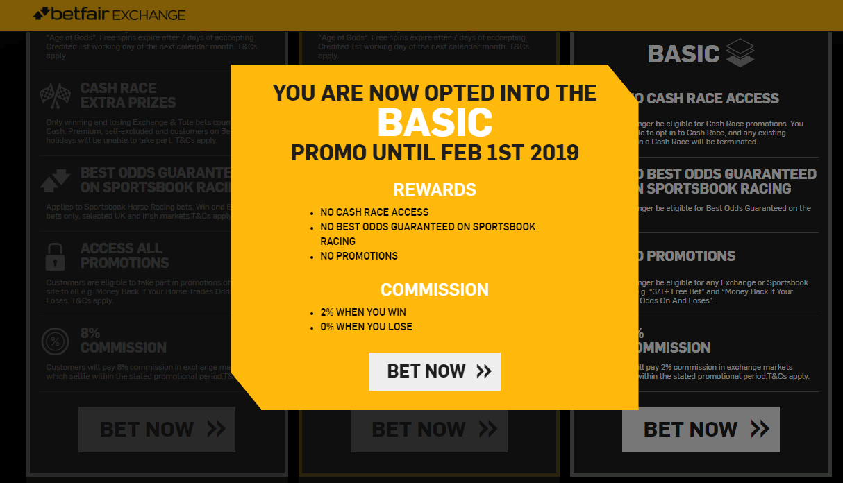 Betfair Exchange Reduced Commission Promotion Basic Confirmation