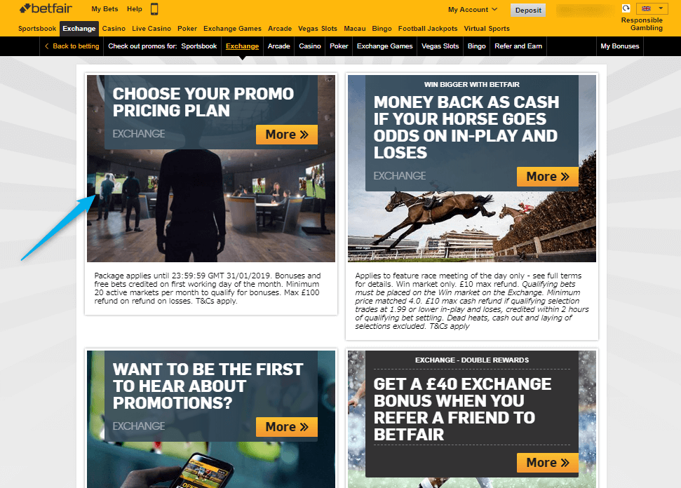 Betfair Exchange Reduced Commission Promotion page