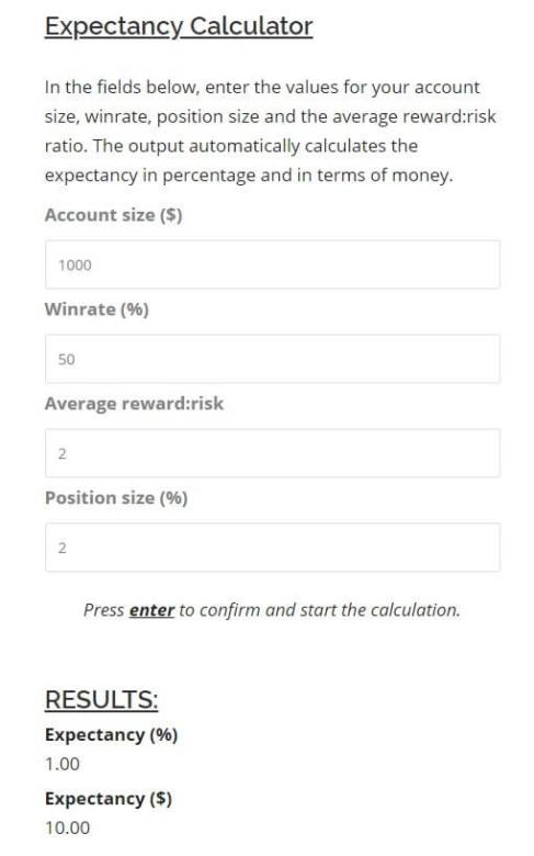 Tradinfg Expectancy Calculator