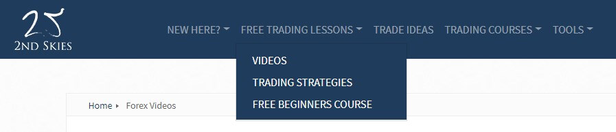 2nd Skies Forex Free Course Dropdown Menu