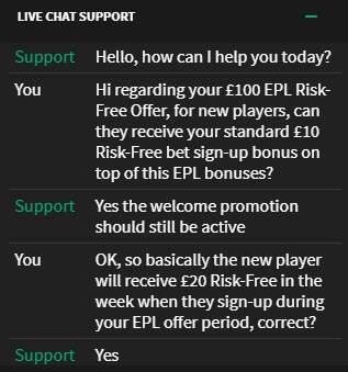 Smarkets EPL offer Live Chat