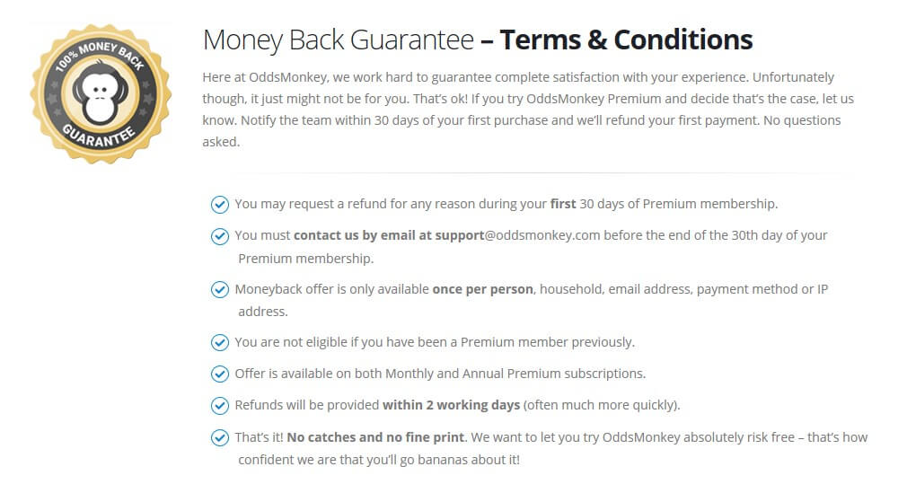 oddemonkey moneyback guarantee t&c