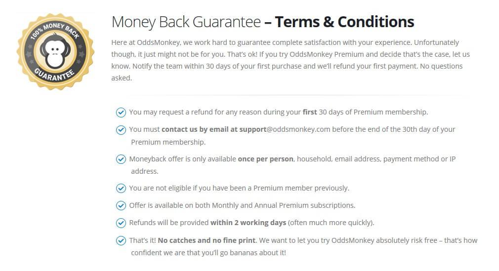 oddemonkey moneyback guarantee t&c