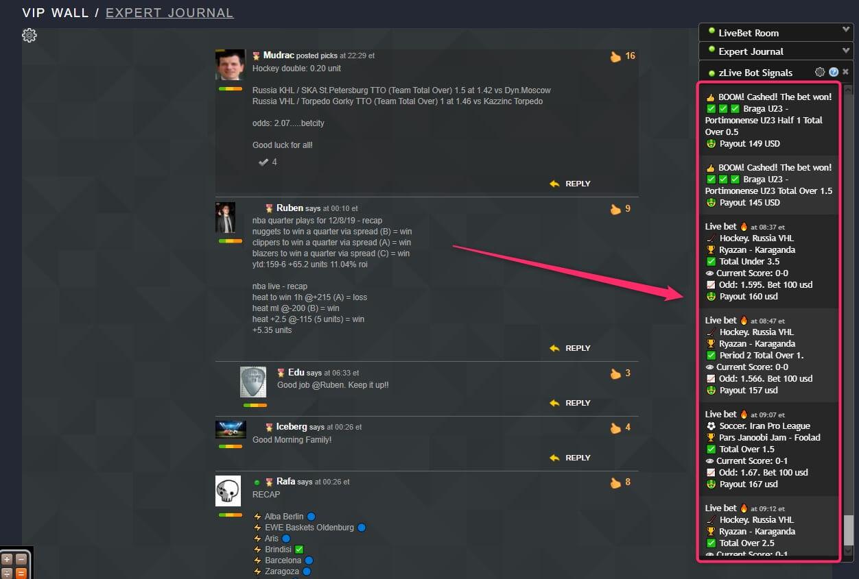 zcode livebot signal screenshot