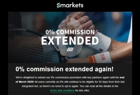 Smarkets 0% Commission Extended to Mar 2020