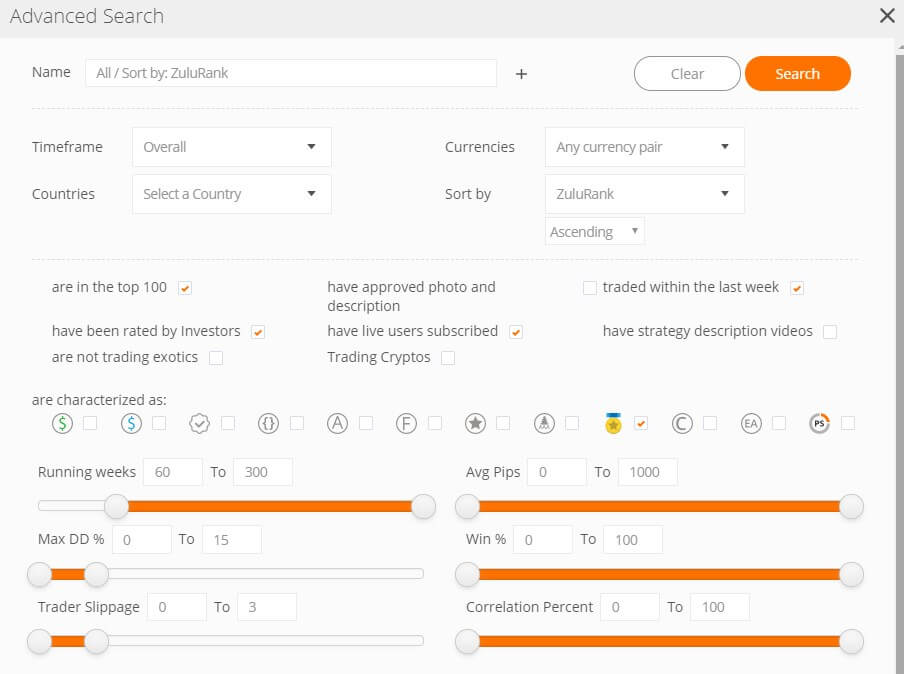 ZuluTrade best trader advanced search criteria